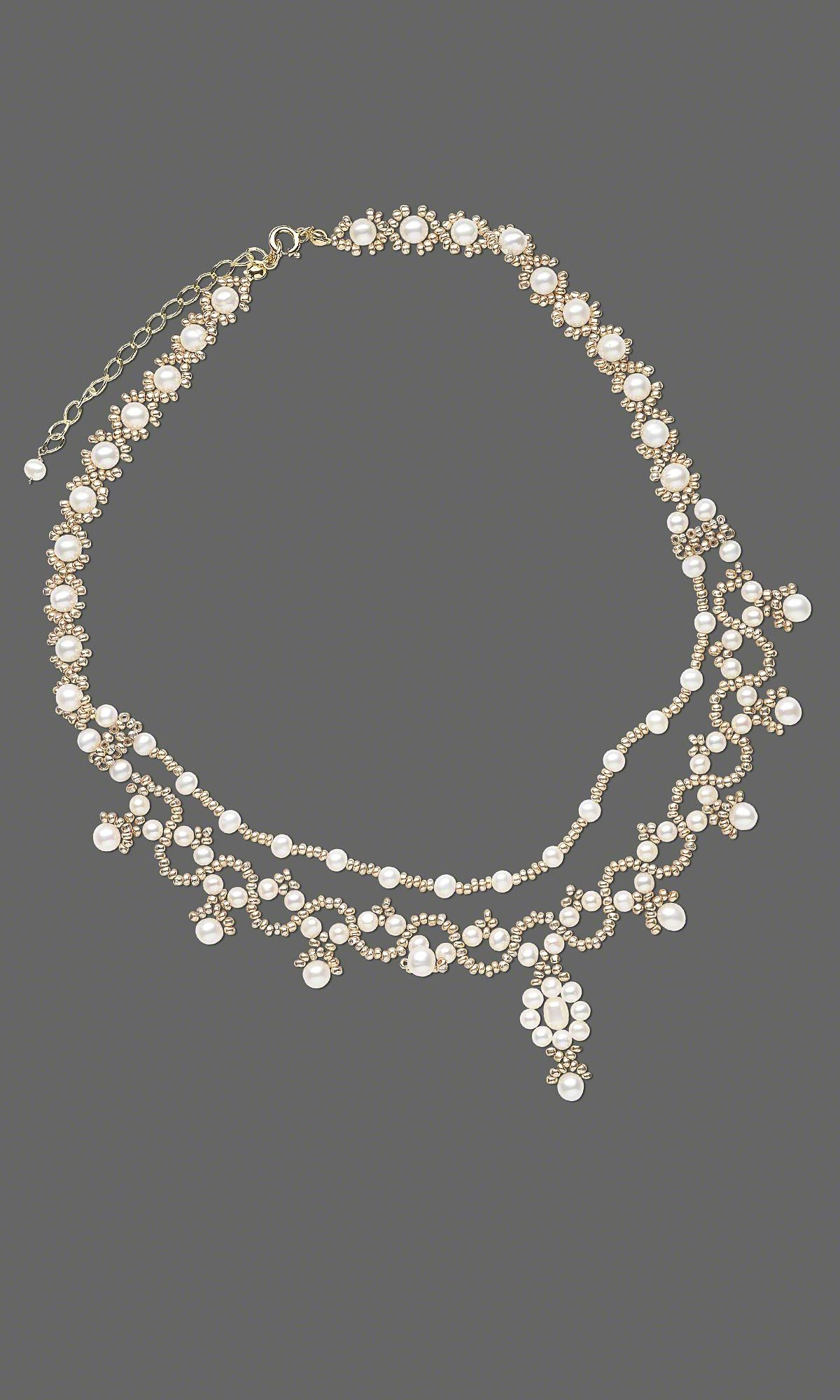Jewelry Design - Double-Strand Necklace with White Lotus™ Cultured Freshwater Pearls and Seed Beads - Fire Mountain Gems and Beads