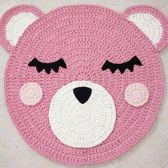 Handmade Crochet Rug Pink Rug Pink Carpet Nursery: Bear Crochet Rug, Bear Rug, Handmade Crochet Rug, Kids Rug