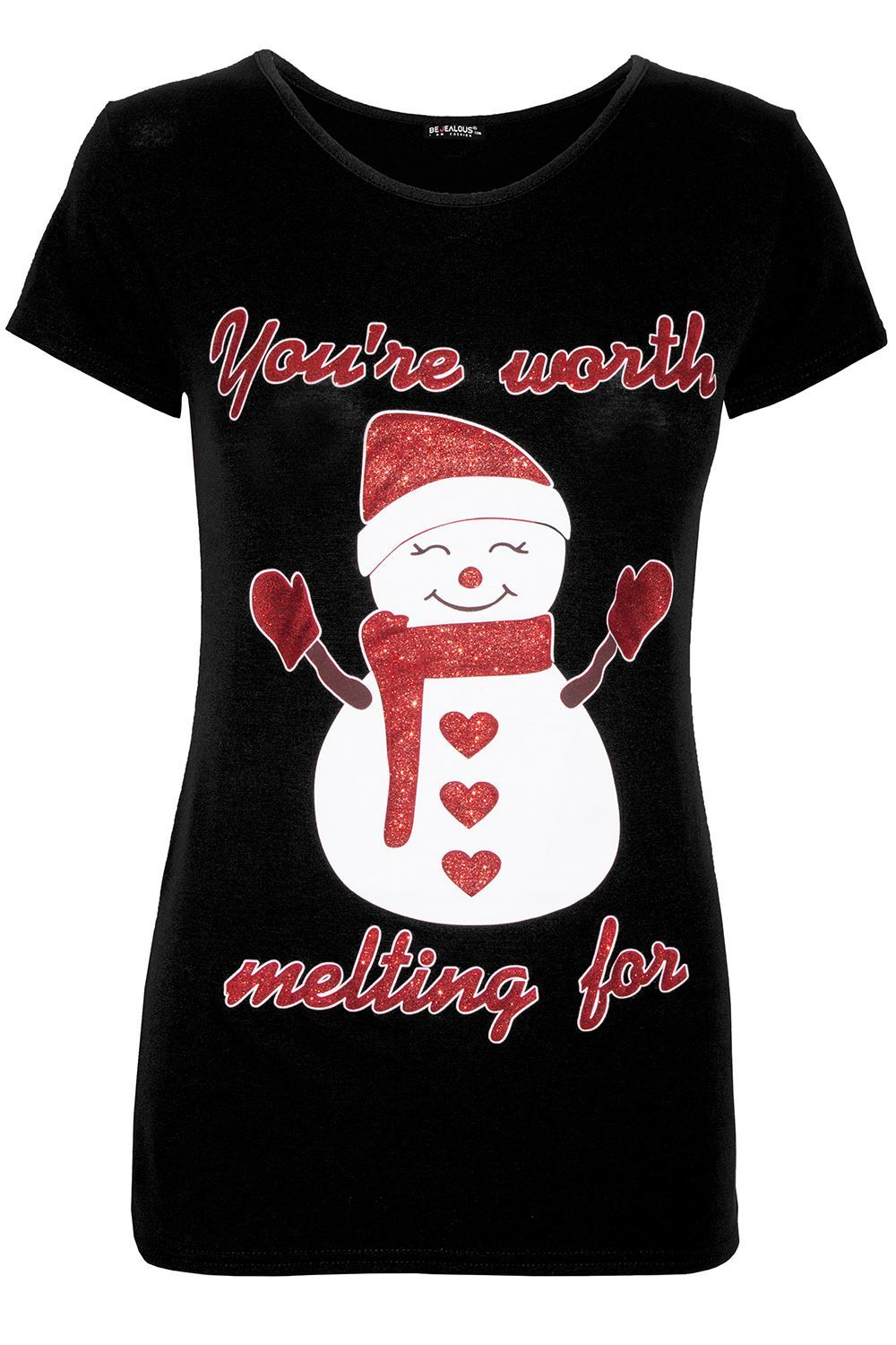Womens Ladies Christmas Elf Candystick Snowflakes Xmas Stretchy T Shirt Tee Top