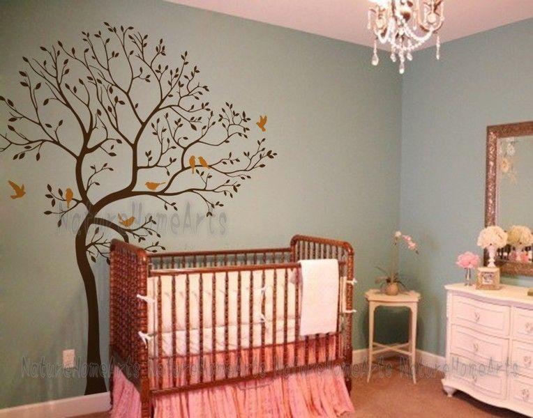 Wanddekoration Babyzimmer ~ Wandtattoo wanddekoration baum mit vögeln nursery and room