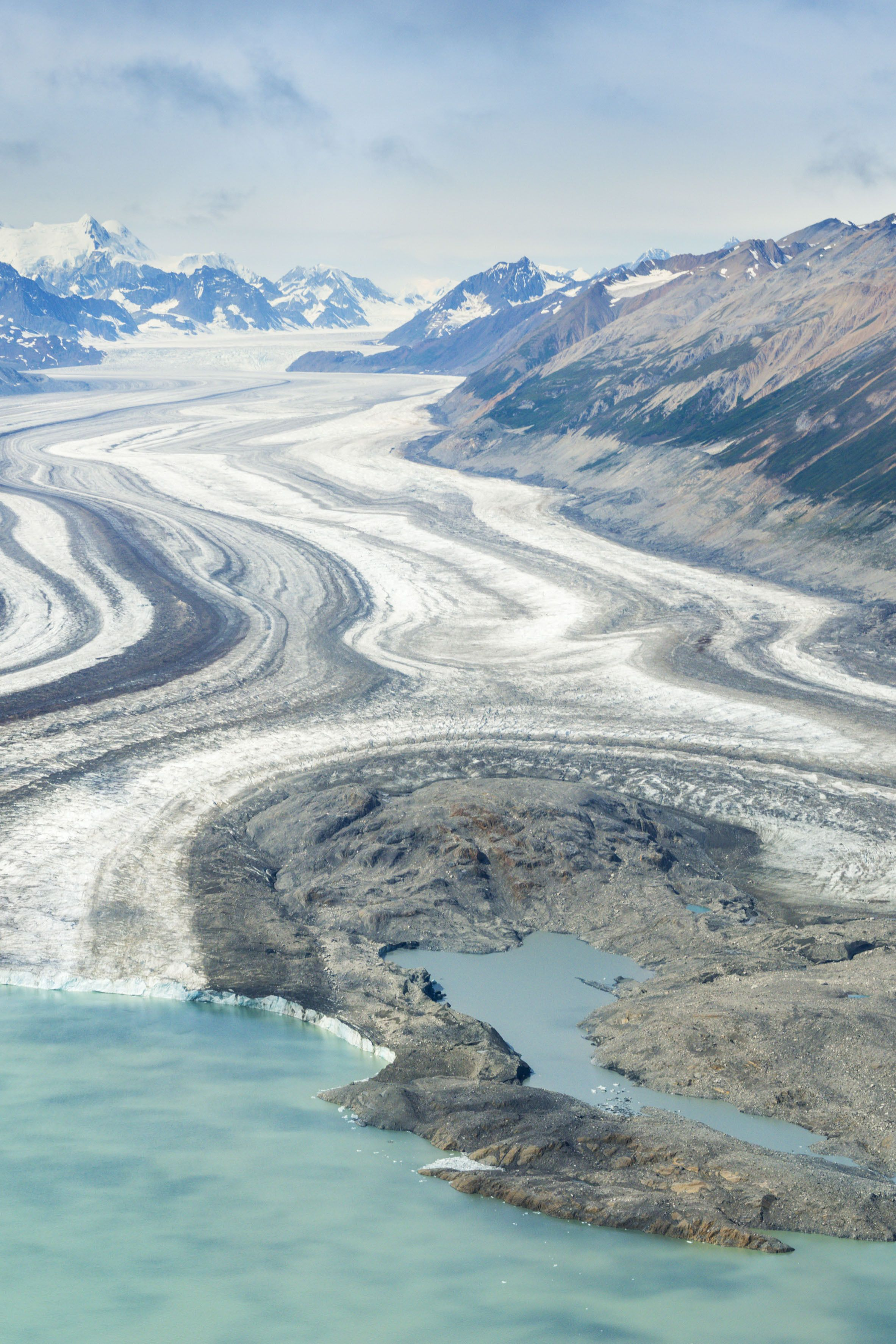 The terminus of the Kluane Glacier in Yukon from top to