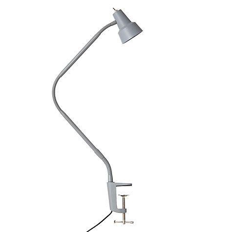 John Lewis Partners Zadie Led Clip On Desk Lamp With Clamp Grey Clip On Desk Lamp Desk Lamp Lamp