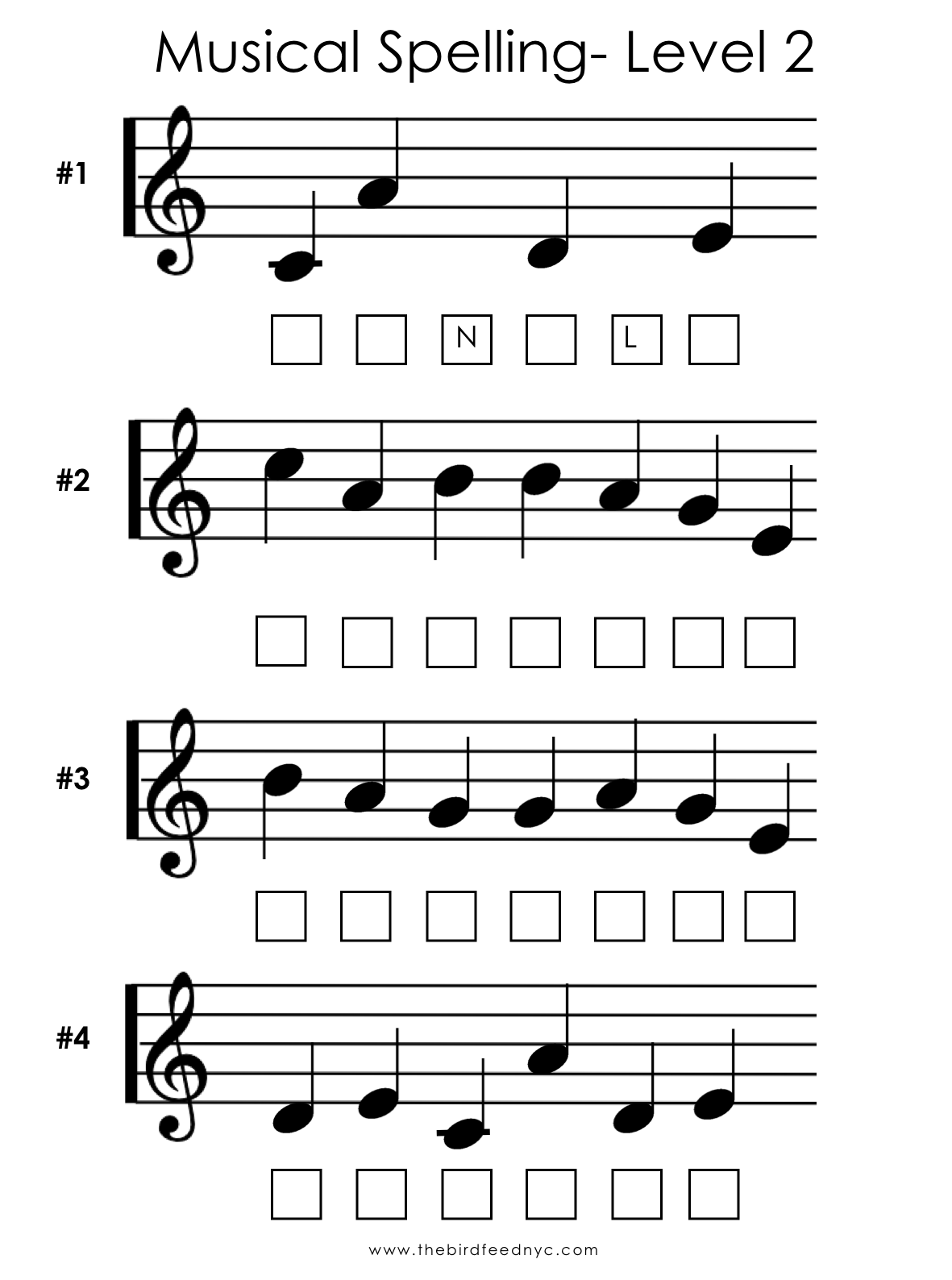 Musical Spelling Activity Sheet 2 The Bird Feed Nyc