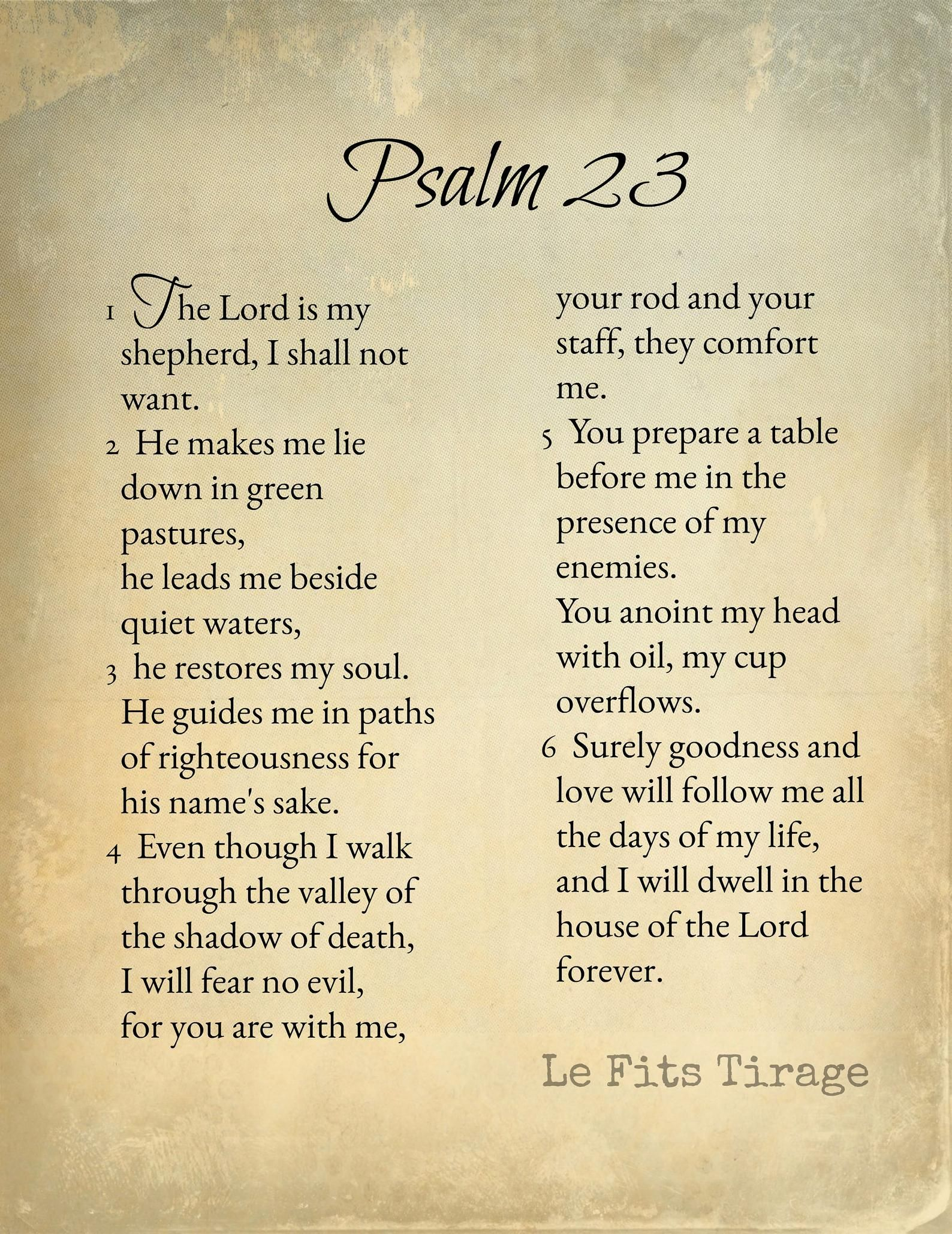Psalm 23 Scripture The Lord Is My Shepherd Instant Download Print Poster 8x10 Sepia Vintage Themed Salmo 23 Salmo 23 4 Salmos