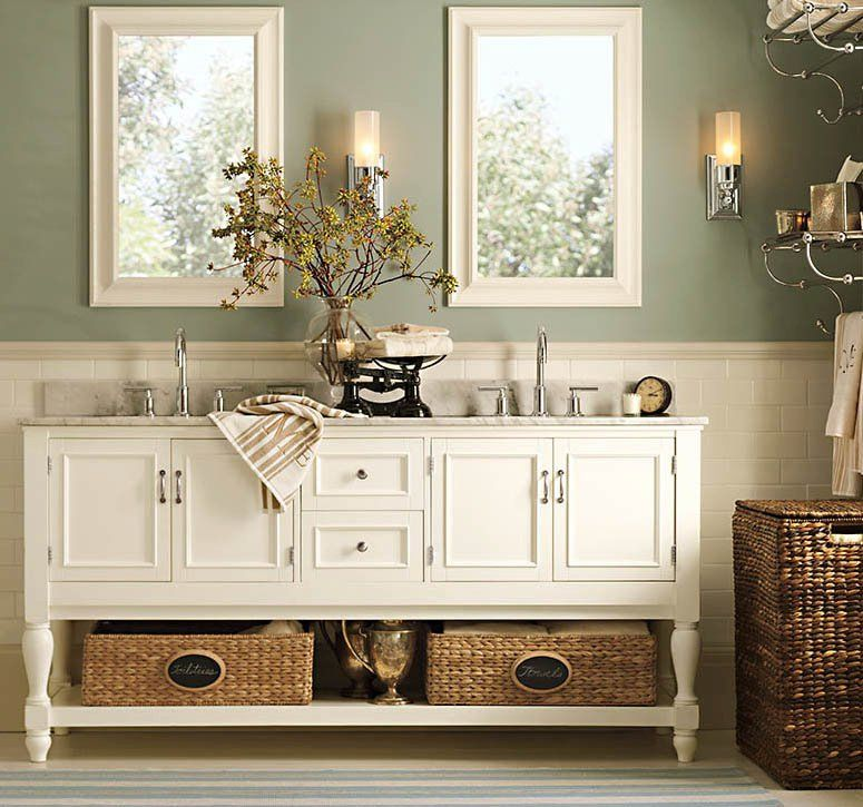 Beautiful custom vanity and I'm loving how the wicker adds just the perfect amount of texture to make it feel warm and cozy!