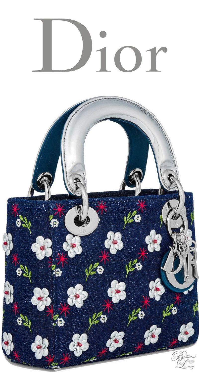 Brilliant Luxury   Dior Summer 2016 ~ Mini blue denim Lady Dior bag Cannage  design embroidered with metallic flowers 0a180238e22bf