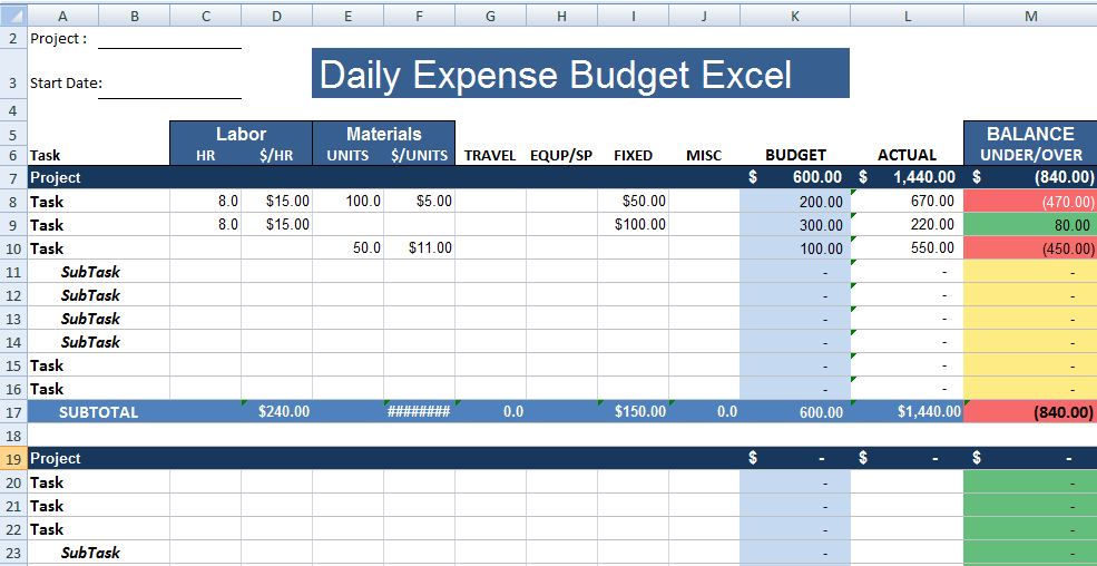 Daily Expenses Template Excel Kleo Bergdorfbib Co