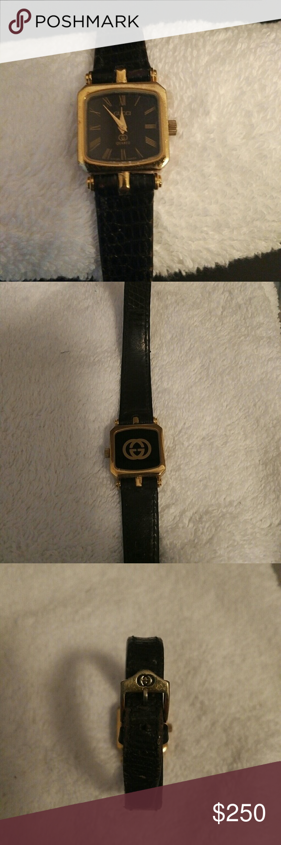 68d3b53acaa GUCCI VINTAGE WOMENS WATCH 10k gold plated womens watch small square black  dial with stripe edge - black leather original Gucci band so it s worn