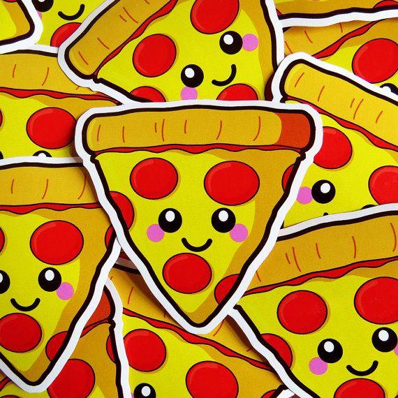 Happy pizza vinyl sticker 10cm fun food sticker cute laptop sticker kawaii pizza
