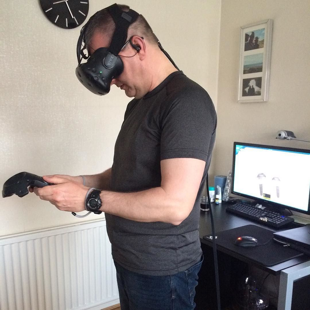 An awesome Virtual Reality pic! Second shot getting used to the controls. Then throwing a stick for a VR robotic dog  shooting a bow and arrow and much more #virtualreality #occulusrift by richiehug check us out: http://bit.ly/1KyLetq