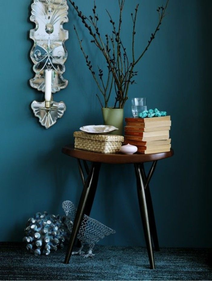 Die Wunderschone Und Effektvolle Wandfarbe Petrol Wohnzimmer