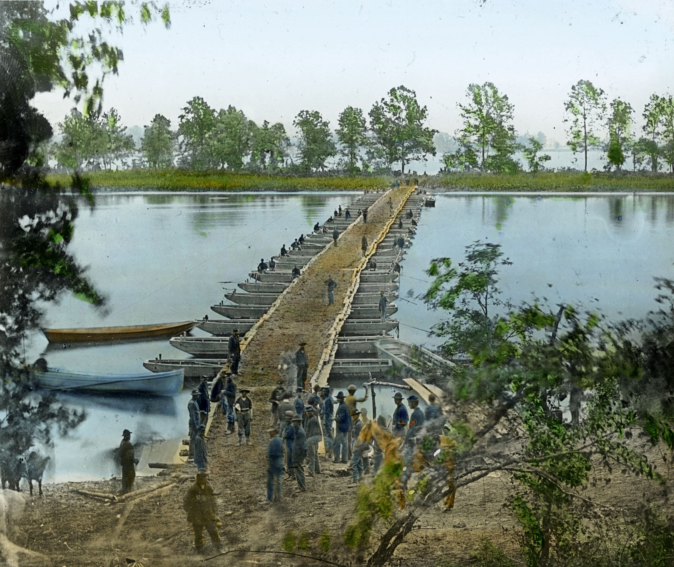 REBUILDING PROCESS After the war, the occupied southern states were rebuilt by the Union over the course of twenty years known as the Reconstruction Era.  Pictured: Union soldiers build a pontoon bridge in Virginia.The Civil War in color photos