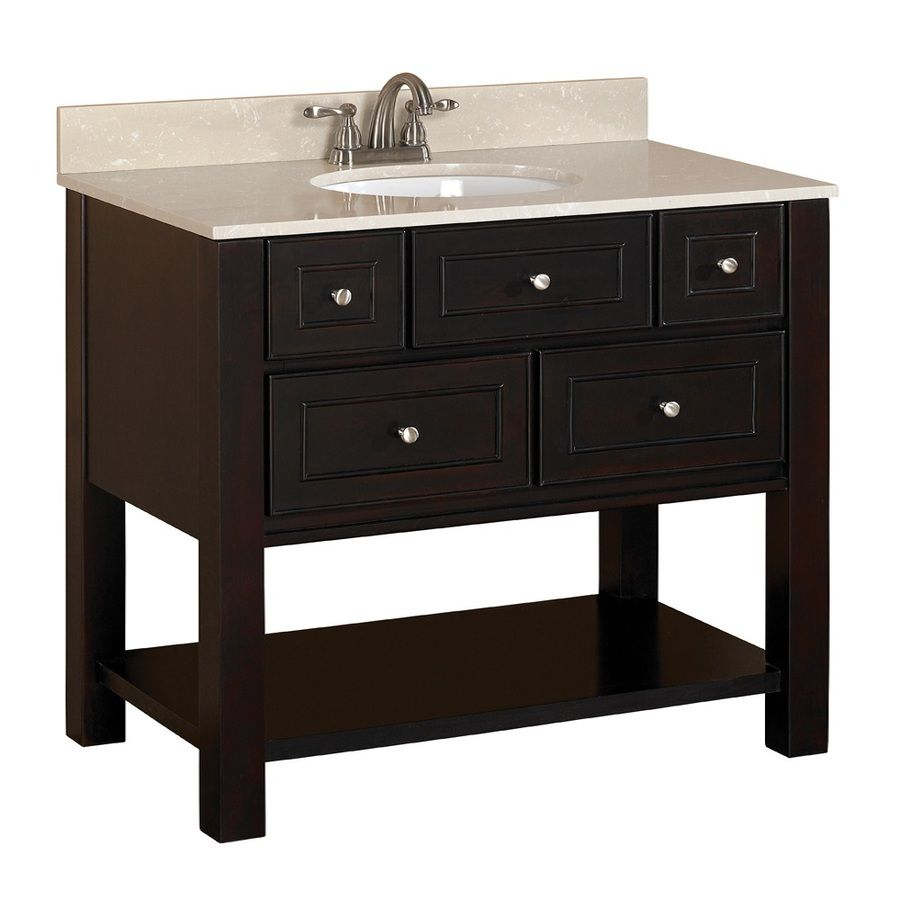 Image On Shop allen roth in Espresso Undermount Bathroom Vanity with Engineered Stone Top