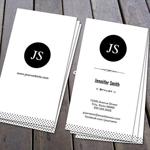 Customizable Stylist Clean Black White Business Card Plain - Black and white business card template