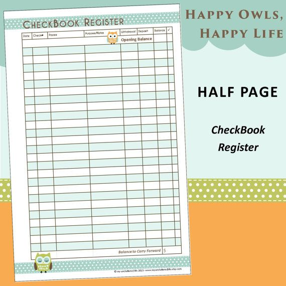 Limited Edition Half Page Printable Checkbook Register Happy Owls Checkbook Register Happy Owl Planner Calendar