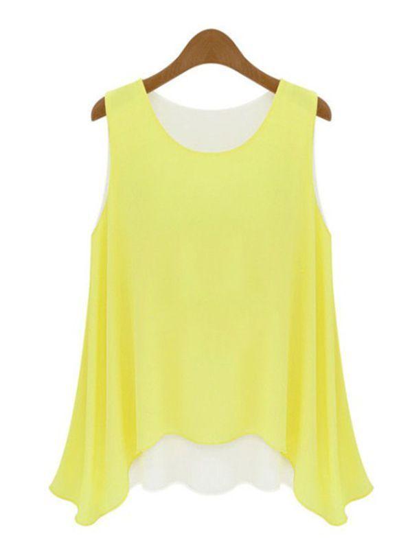 989494cfb7 Yellow Chiffon Round Neck False Two-piece Casual T-Shirt Vest   KissChic.com