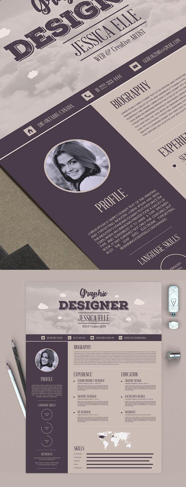 Free Creative Vintage Resume Design Template | Graphic design ...