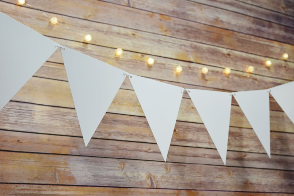 String lights and solid color triangle pennant bunting banner garlands!
