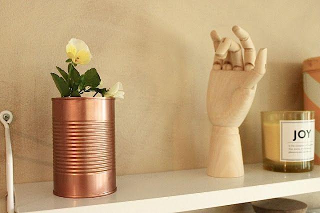 Copper DIY jar with a Hay wooden hand