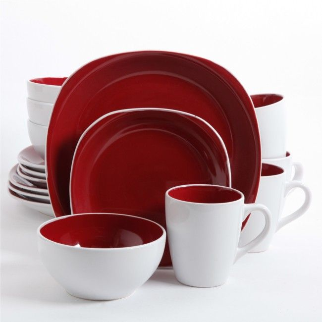 Gibson Home Chicstone 16 Piece Square Dinnerware Set Red  sc 1 st  Pinterest & Gibson Home Chicstone 16 Piece Square Dinnerware Set Red | home ...