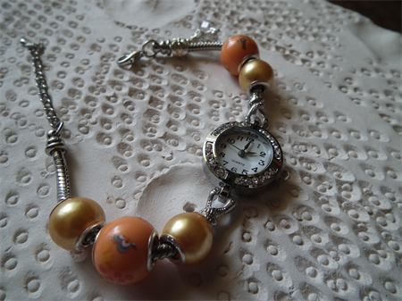 Summer Time.. quartz movement diamonte stainless steel wrist watch orange European charms $69  by wattmillinerybling  madeit.com.au