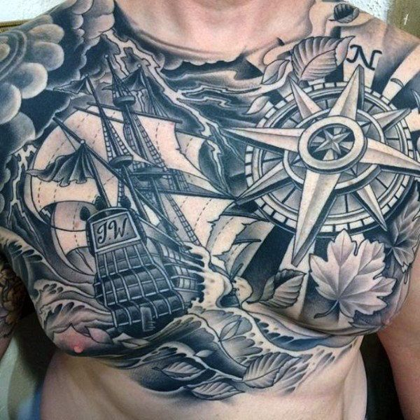 70 Brilliant Chest Tattoos: 70 Compass Tattoo Designs For Men