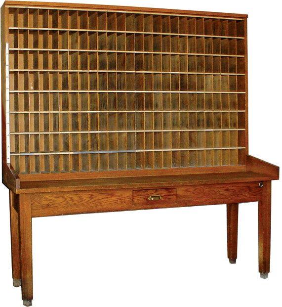 Oak Post Office sorting table w/208 mail cubbies {Pinning this because the  word - Oak Post Office Sorting Table W/208 Mail Cubbies {Pinning This