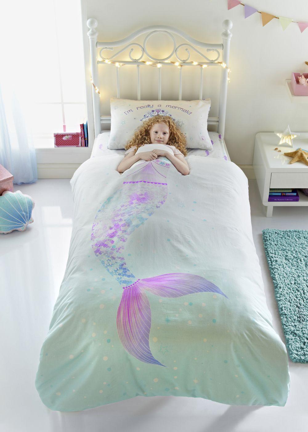 Kids 100 Cotton Mermaid Duvet Cover Single Lilac Mermaid