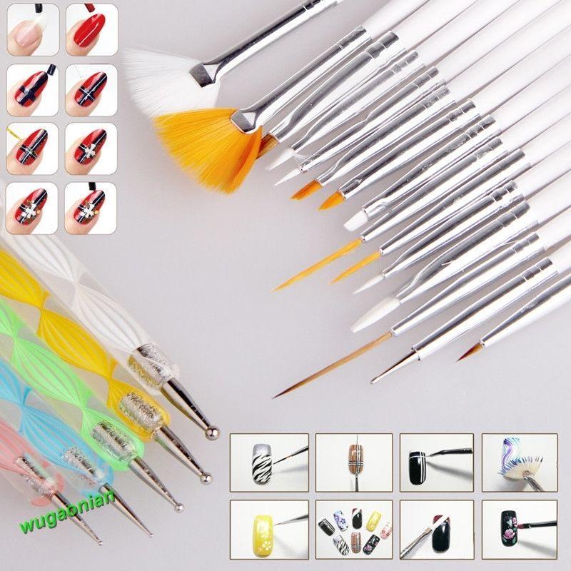 20PCS Nail Art UV Gel Design Painting Pen Brush Set for Salon ...