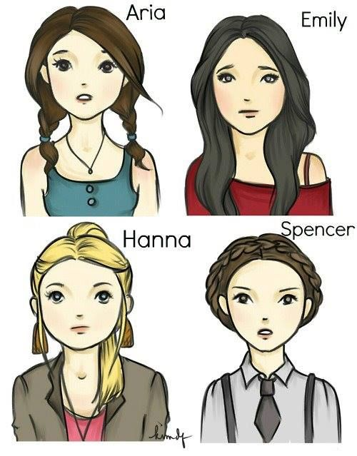 Pretty little liars pll aria emily hanna and spencer