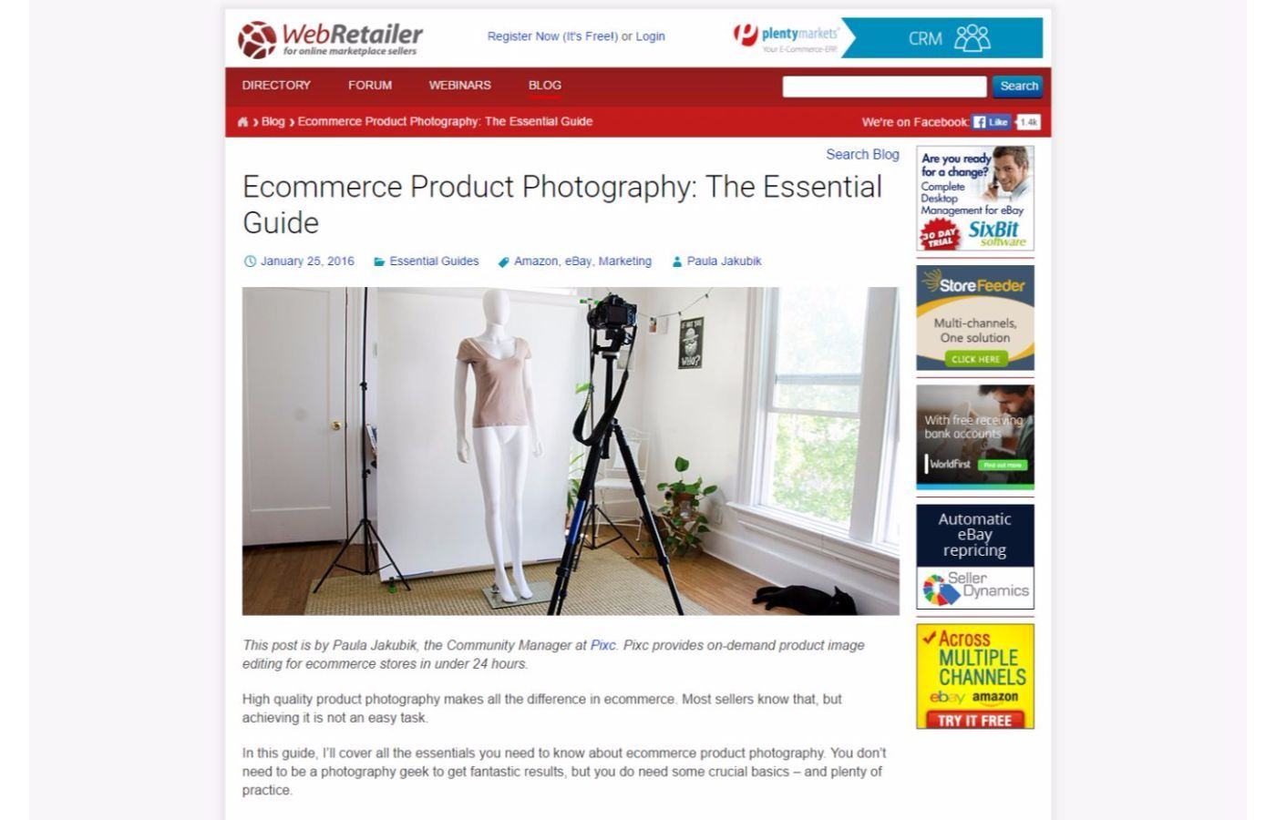 eCommerce photography guides - WebRetailer