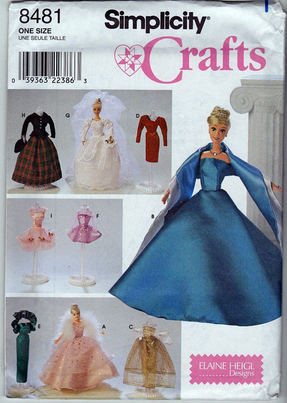 Pattern Barbie Wedding Dress Gown Simplicity 8481 by 7thStash ...