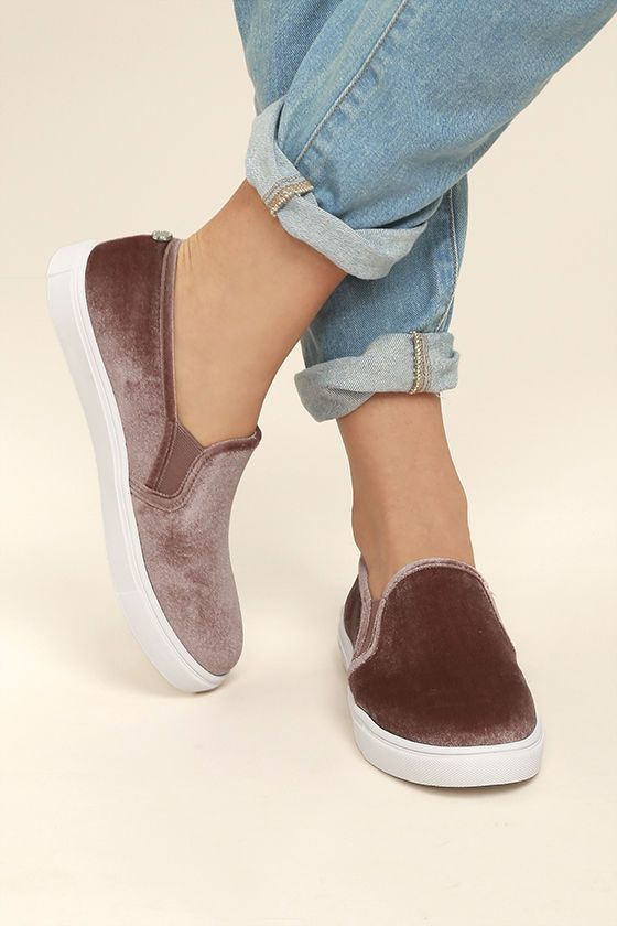 d2a184e992a Make your fashion inspo a reality with the Steve Madden Ecntrcv Blush  Velvet Slip-On Sneakers! These chic and trendy velvet sneakers have an  easy-to-wear ...