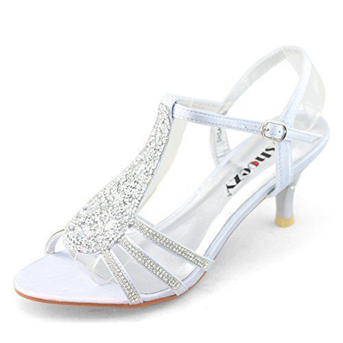 cool SHOEZY New Women Ladies Low Heels Wedding Prom Shoes Diamant Strappy Sandals  Silver Size US 8 Plz do check size chart on Gallery Photo or con