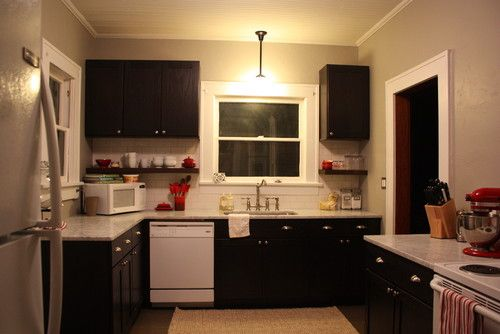 Espresso Oak Cabinets Marble Counter Tops And White Liances