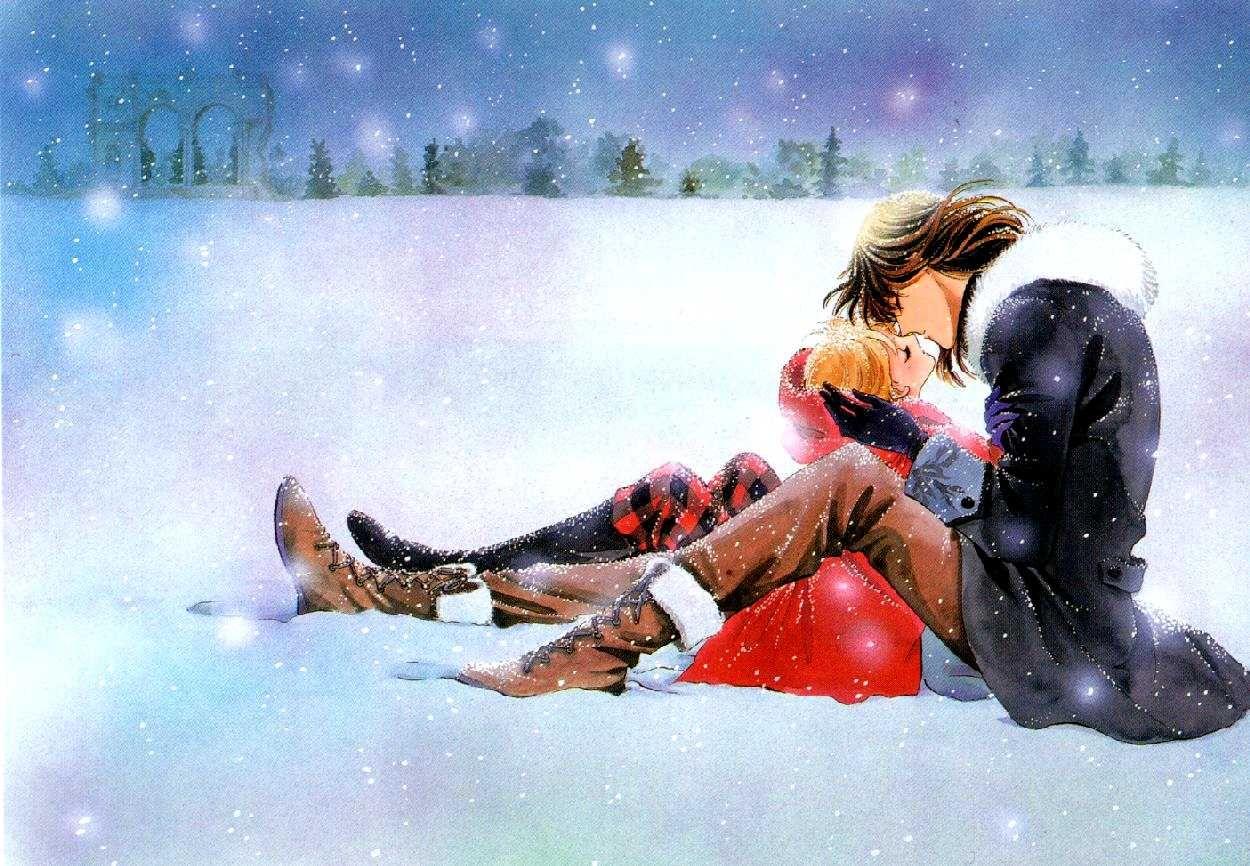 Открытки он и она и снег, своими
