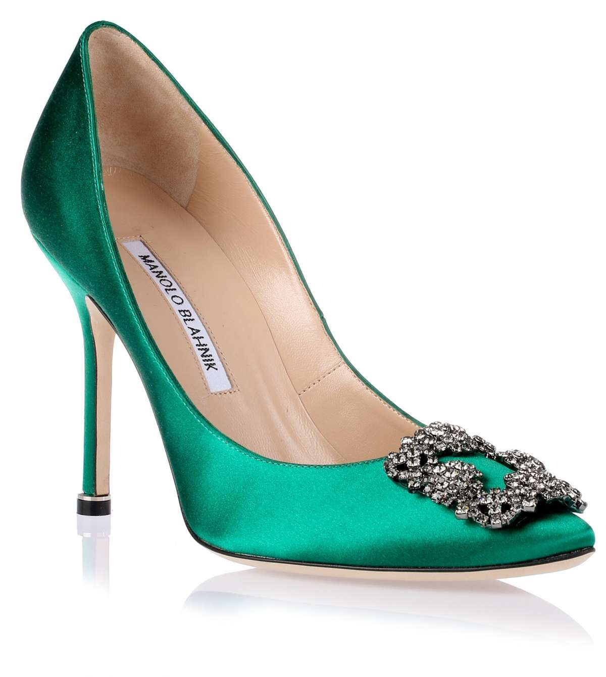 Manolo blahnik hangisi satin pump emerald green shoes for Who is manolo blahnik