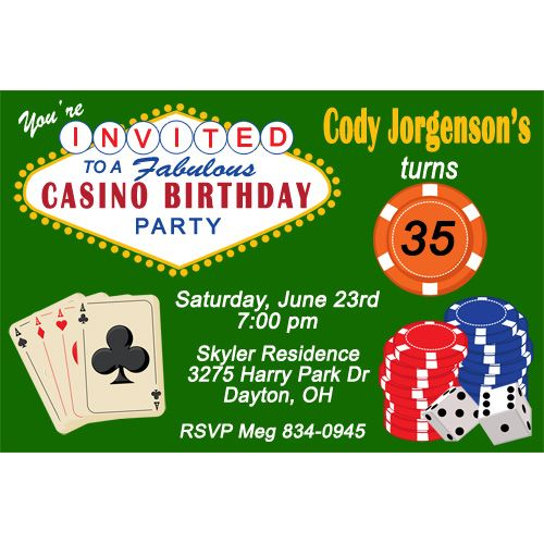 Get Casino Birthday Party Invitations Ideas FREE Printable - Party invitation template: casino theme party invitations template free