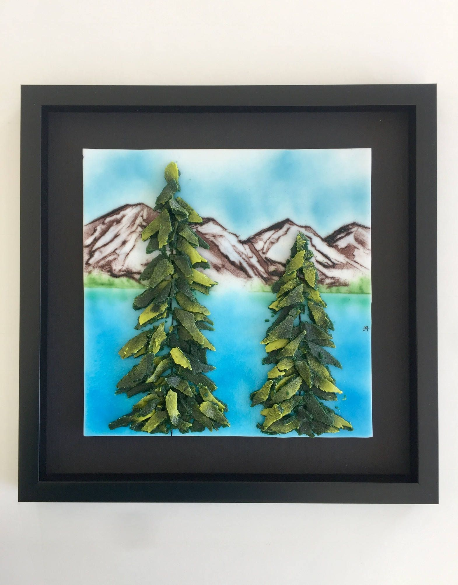 Fused Gl Handmade Mountains Wall Panel Art