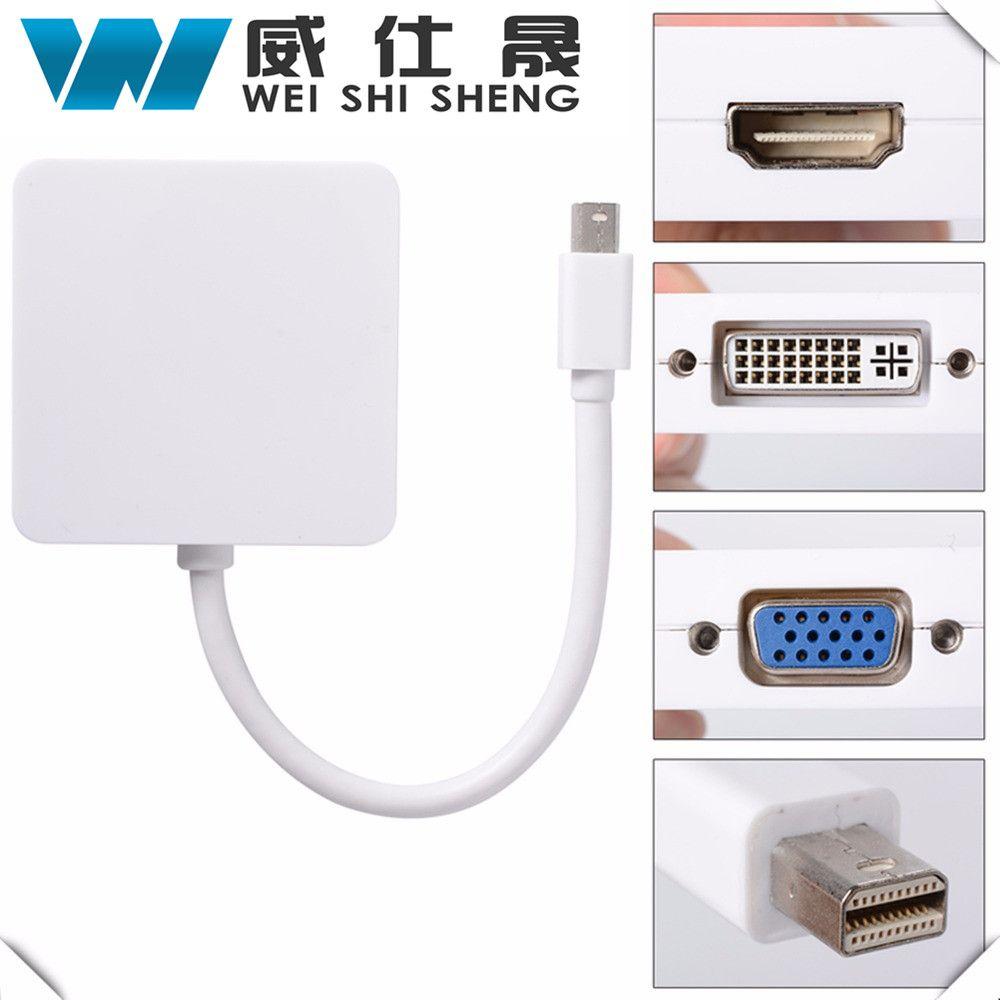 3 In1 Thunderbolt Mini Displayport Untuk Hdmi Dvi Dp Vga Adapter Converter Display Port To Kabel Macbook Pro