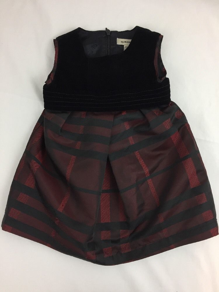fce018e8 Burberry Baby Girl Dress Black Velvet Red Check Taffeta 9 months | eBay