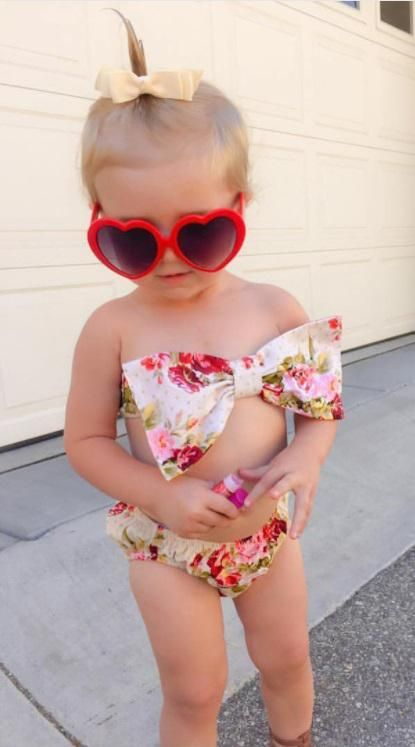 1fdd414037 This beautiful cream floral swimsuit comes with top and bottoms in your  choice of size. **SHIPS IN 1-3 BUSINESS DAYS!** Baby Girl Bikini, Toddler  ...