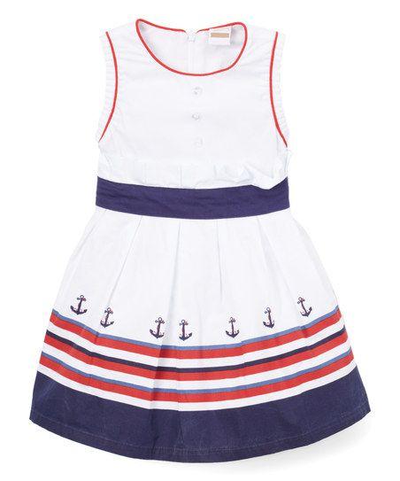 1a01f4a8bb7e Newness White & Navy Stripe Sleeveless Dress - Toddler & Girls | zulily
