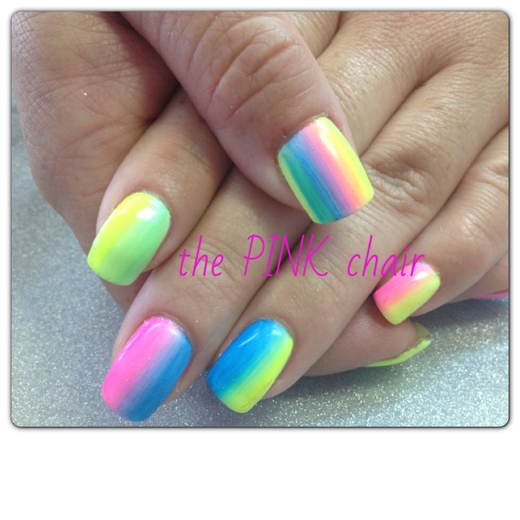 Love these faded gel nails in bright summer colours | Nails | Pinterest