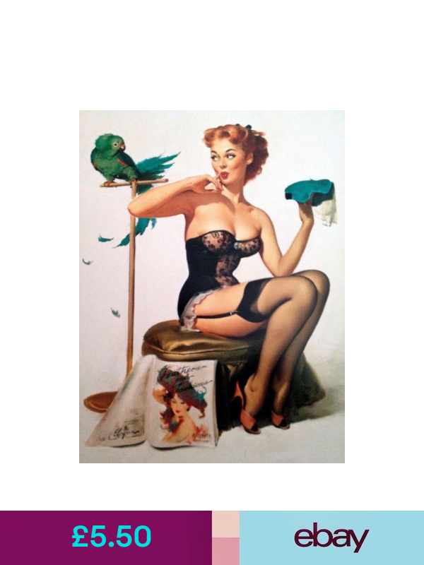 METAL VINTAGE RETRO PIN UP GIL ELVGREN TIN SIGN WALL PLAQUE FRIDGE MAGNET