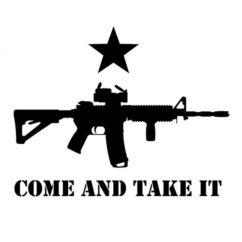 Gun come take it die cut vinyl decal pv287