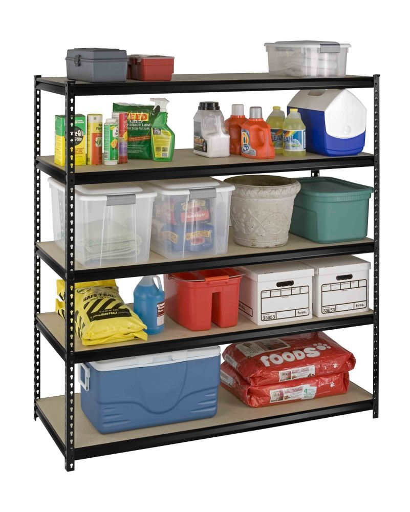 Edsal 5 shelf heavy duty steel shelving - 5 Shelf Heavy Duty Riveted Storage Rack With Particle Board Shelves