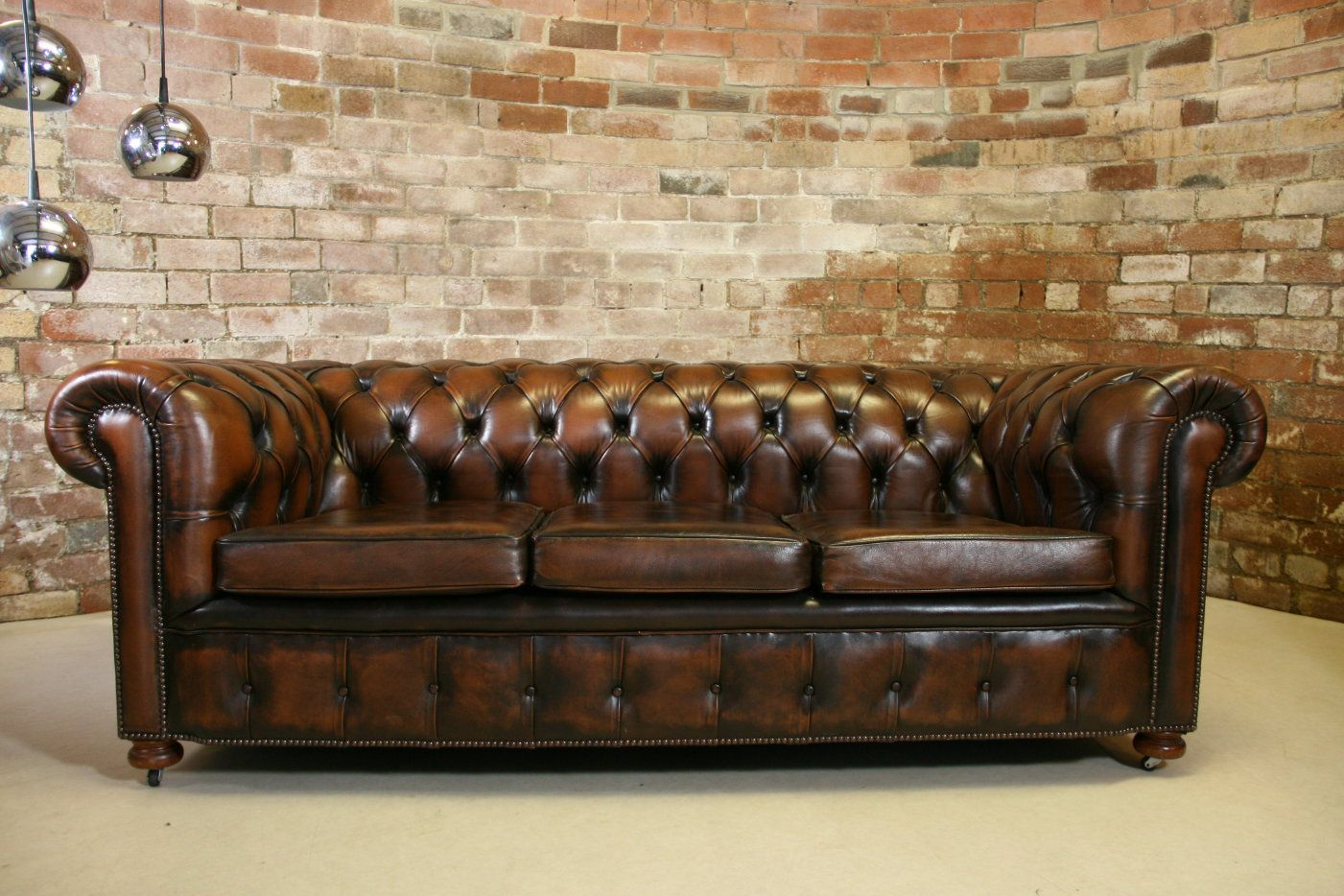 Vintage Chesterfield Antique Brown Leather 3 Seater Sofa Retro Buttoned Couch Chesterfield