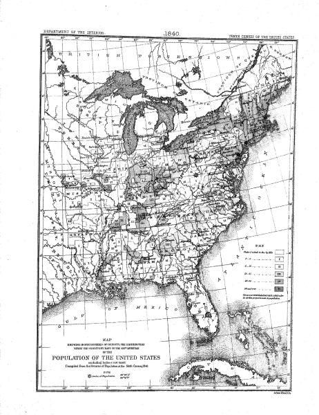 1840 image gallery history sights and sounds u 1840 map this map of the united states illustrates the nations population density using 1840 census