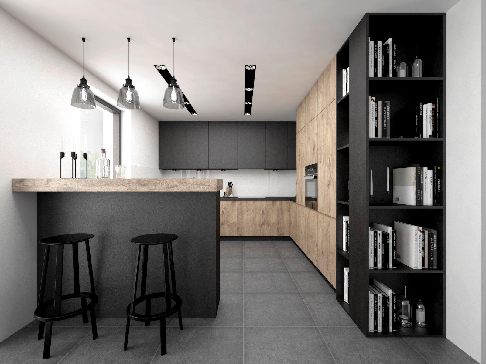 Kolorystyka Kuchni Czyli Szare Plytki I Debowe Fronty Polaczenie Z Czarnymi Kitchen Inspiration Design Modern Kitchen Design Kitchen Room Design